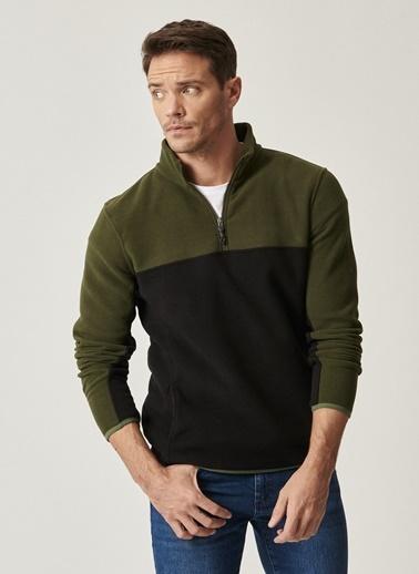 AC&Co / Altınyıldız Classics Slim Fit Günlük Rahat Çift Renkli Polar Spor Sweatshirt 4A5221100015 Haki